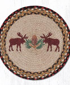 """Moose and Pinecone 15"""" Round Placemat"""