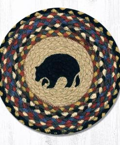 "Black Bear 10"" Round Braided Trivet"
