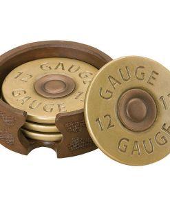 Shotgun Shell Coaster Set of 4 with Holder