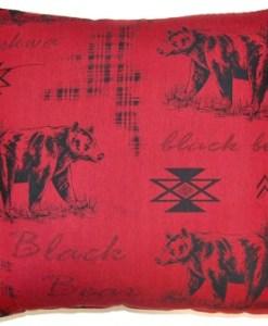 """Black Bear Scarlet 26"""" x 26"""" Pillow"""
