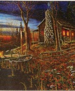 Cabin Scene Tempered Glass Cutting Board