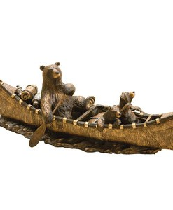 "Big Sky Carvers Jeff Fleming Bearfoots ""Canoe Trip"" Sculpture"