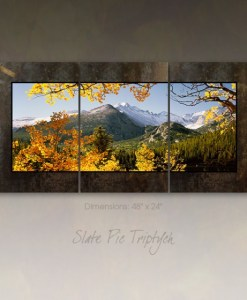 3 Panel Picture on Slate - Longs Peak at Bear Lake, RMNP, Colorado