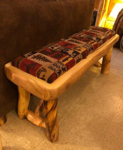 Aspen Log Bench With Upholstered Seat 48""