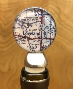 Map of Loveland or Estes Park, Colorado Wine Stopper