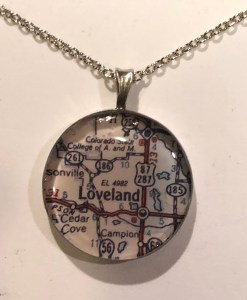 Map of Estes Park or Loveland Colorado Necklace
