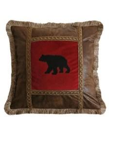 Applique Bear Square Pillow - Red