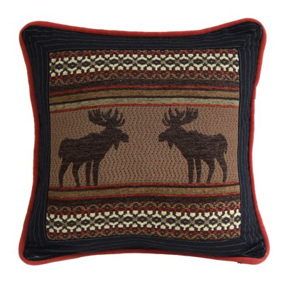 Bayfield Square Moose and Pinstripe Pillow