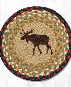"Moose 10"" Round Braided Trivet"