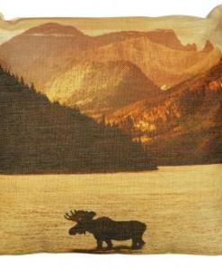 Moose in Sunset Small Pillow