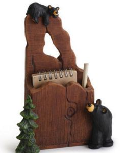 Big Sky Carvers Jeff Fleming Bearfoots Noteworthy Bears Notepad and Pencil Holder