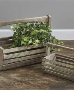 Rustic Wood Baskets set of 2
