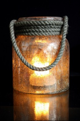 """Mercury Rope Lantern 7""""W X 9""""H Including The Flame Wave"""