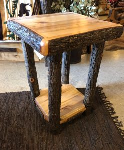 Hickory Log End Table