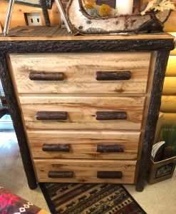 Hickory Log Four Drawer Chest