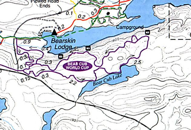 Map of the Bear Cub World Cup Ski Trail, Central Gunflint Trail System