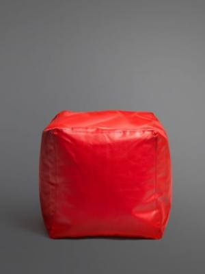red footstool bean bag