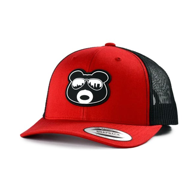BearThug Snapback Ball Caps - Red/Black Mesh (PVC Patch)
