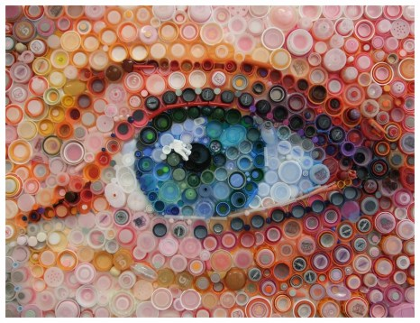"""""""Bottled Eyes"""" by Mary Ellen Croteau - UPCYCLE - Be artist Be art Magazine"""