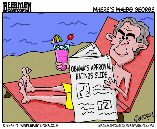 Bearman Cartoon of George Bush lying on Beach as Obama Takes a Beating in the Press