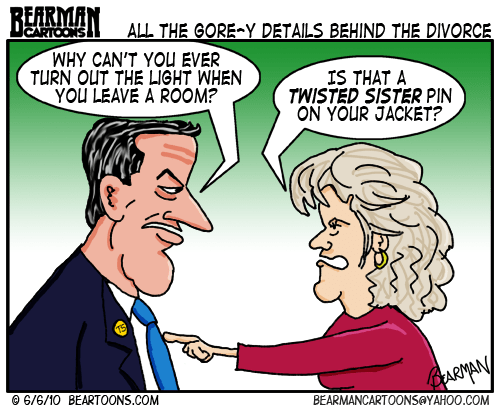Bearman Cartoon - Al and Tipper Gore Divorce