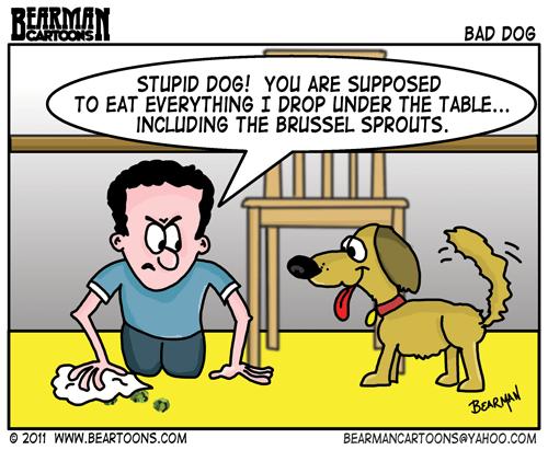 Feeding Dog at the Table Cartoon
