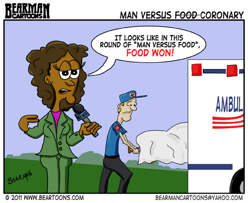 Bearman Editorial Cartoon: Man vs Food