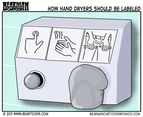 Editorial Cartoon - How Hand Dryers Should be Labeled