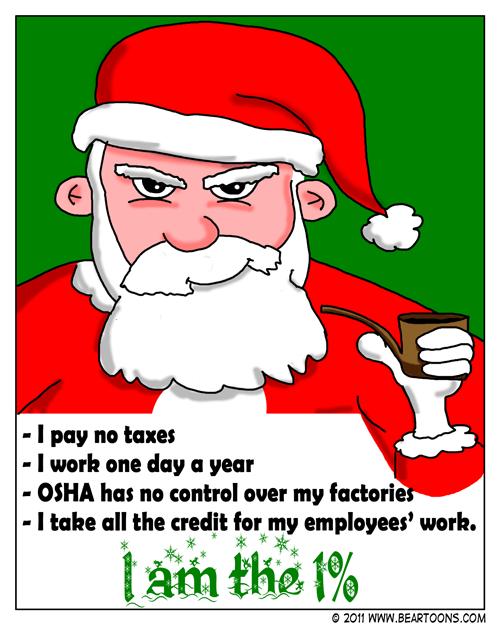Bearman Cartoon's Santa is the 1 Percent