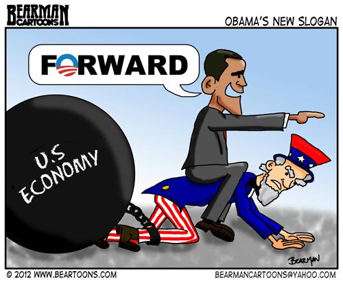 Bearman Cartoon Obama Forward Slogan