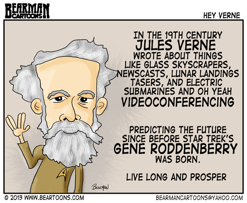 Bearman Cartoons Jules Verne Predicts better than Star Trek