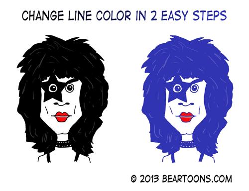 Paul Stanley KISS Change Line Color in 2 Steps Photoshop Bearman Cartoons