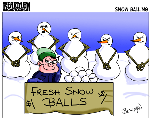 Bearman Cartoons Fresh Snow Balls