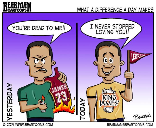 release date 7ec67 8ea44 Lebron James Returns to Cleveland Cavaliers - Bearman Cartoons