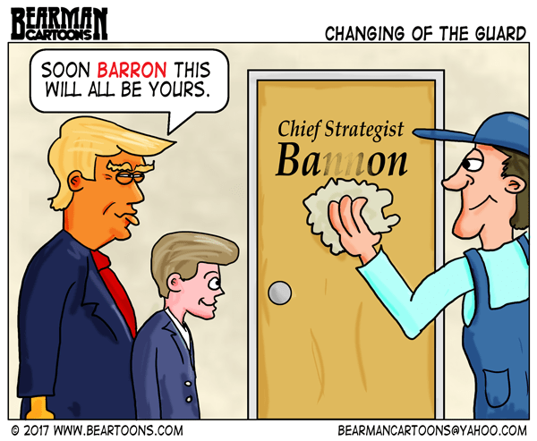 Bearman Cartoons Barron trump takes over Chief Strategist from Steve Bannon Editorial Cartoon