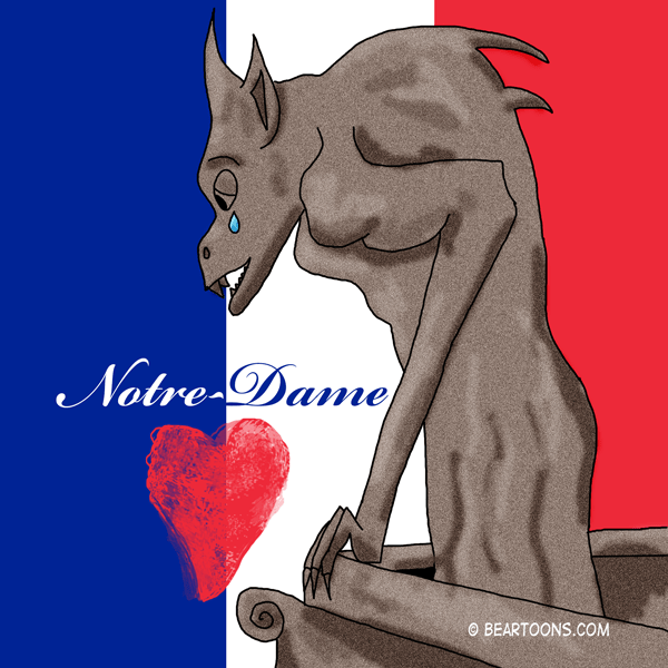 Notre-Dame de Paris Gargoyle crying (cartoon) about fire to the Cathedral in April 2019
