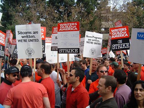 WGA members @ the unity rally outside FOX Studios (Nov. 9, 2007)