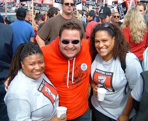 "Me & BEST WEEK EVER's ""Frangela"" @ the WGA strike rally outside FOX Studios (Nov. 9, 2007)"