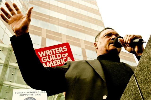 Rev. Jesse Jackson rallying the WGA troops outside FOX Studios (Nov. 9, 2007)
