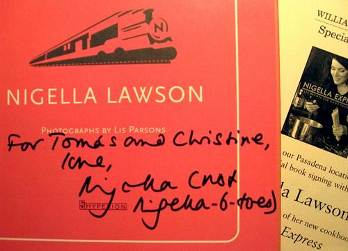 Nigella's inscription in our book… (Nov. 10, 2007)