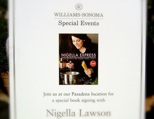 Nigella book signing poster @ Williams-Sonoma (Nov. 10, 2007)