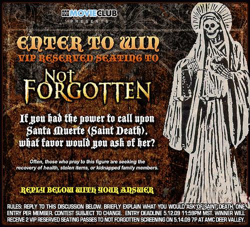 """Not Forgotten"" Santa Muerte contest!"