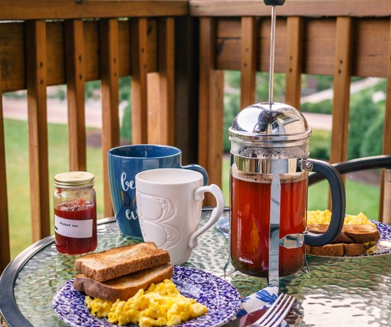 French press morning coffee on the balcony