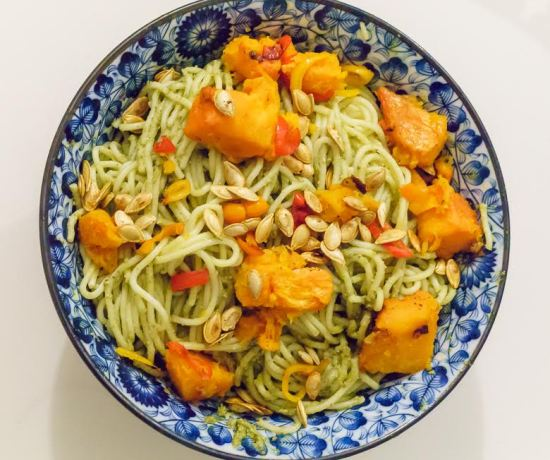 Butternut squash pesto spaghetti dinner