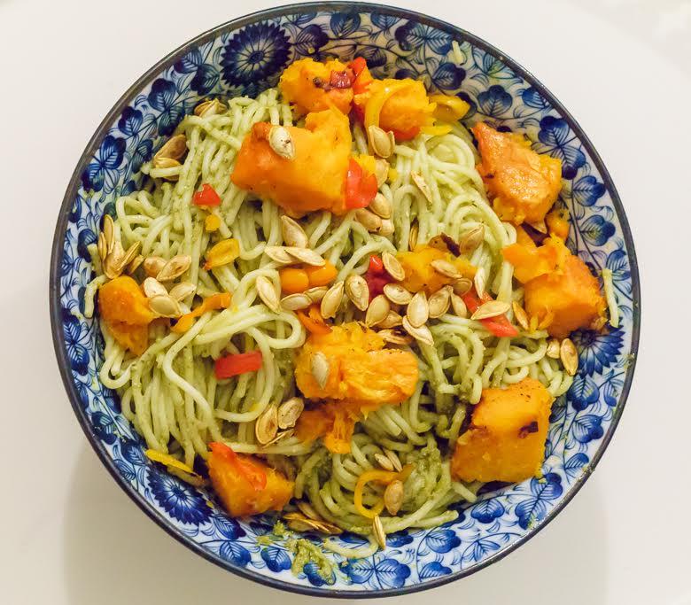 Butternut squash pesto spaghetti dinner