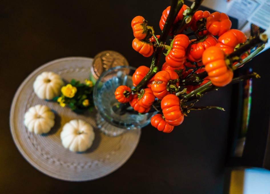 Fall pumpkin centerpiec
