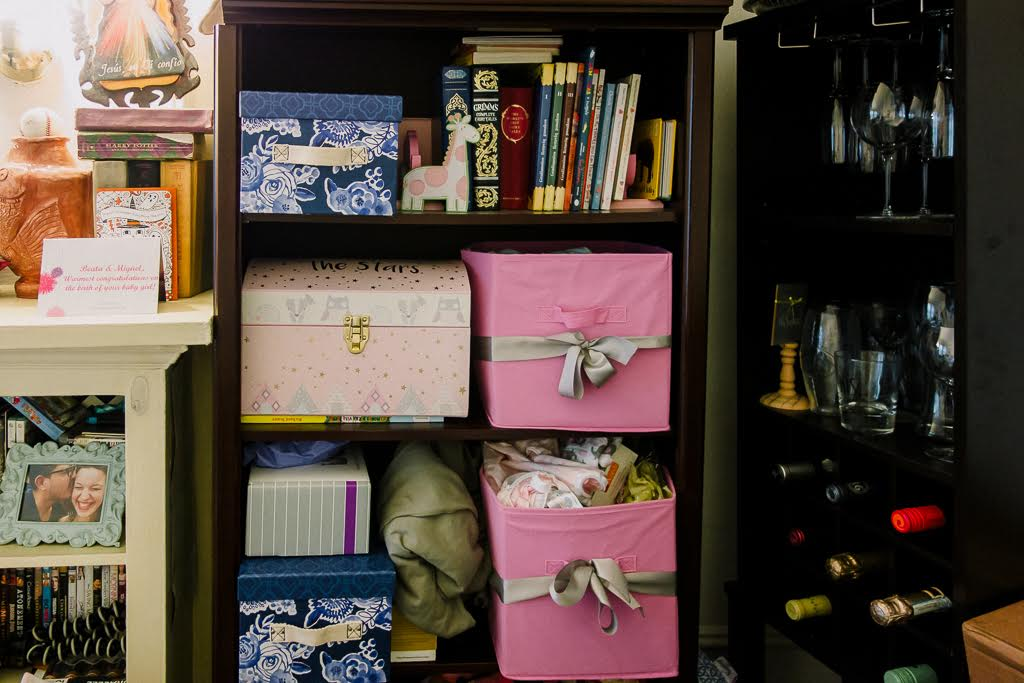 storage boxes on shelf