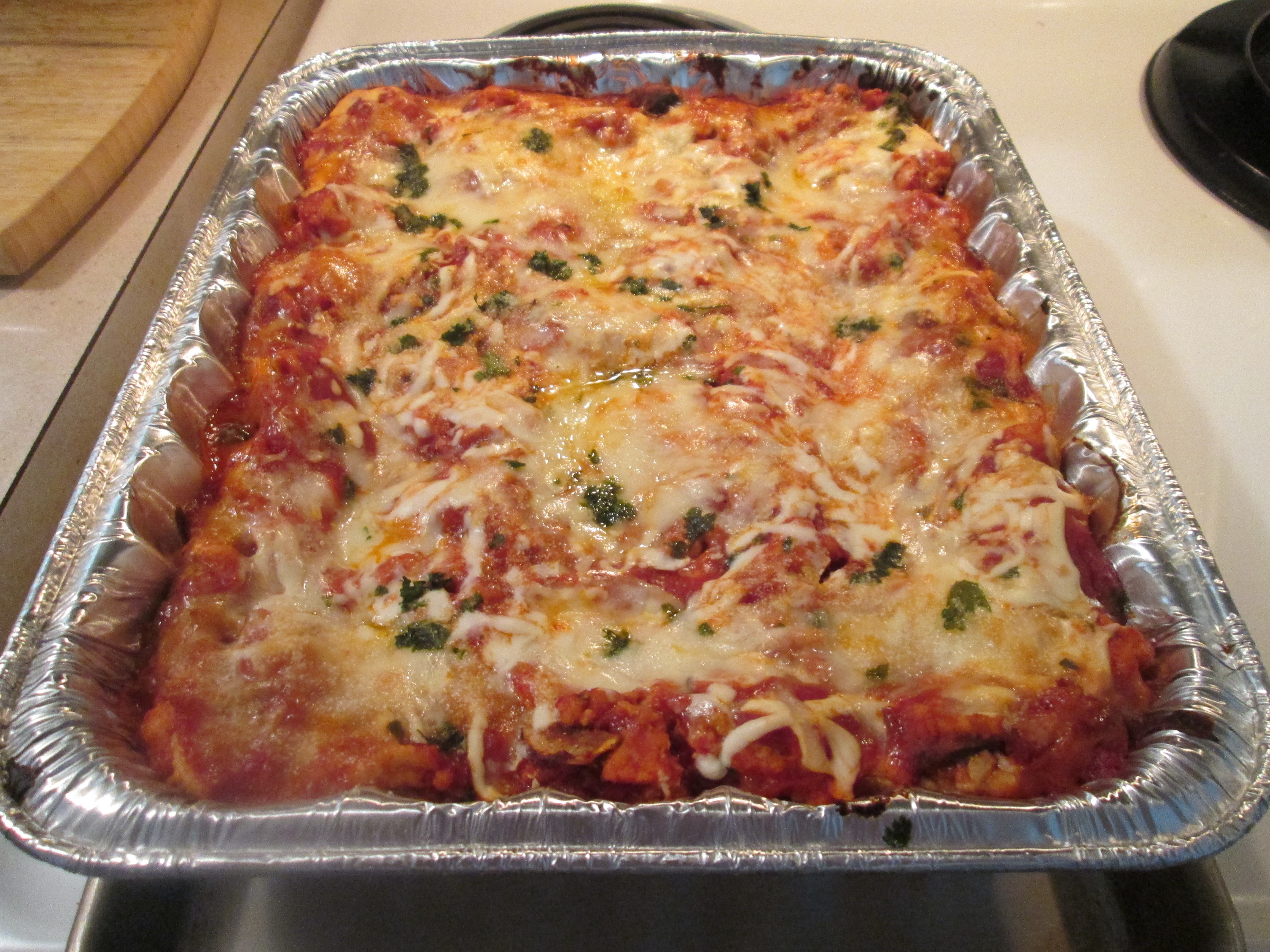 healthy harvest turkey lasagna and baked french bread 006