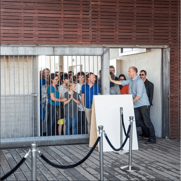 The crowded front gate of the Design Academy, opening the gates for public.