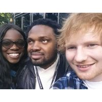 Cobhams Asuquo & wife meet Ed Sheeran & Others at Global Citizens Festival